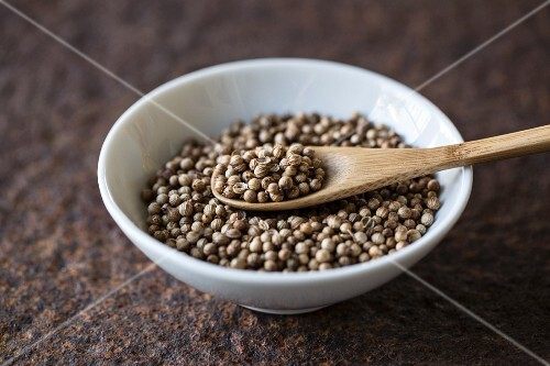 Coriander seeds with a wooden spoon in a bowl
