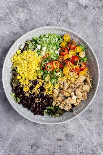 Southwestern chicken salad with avocado dressing