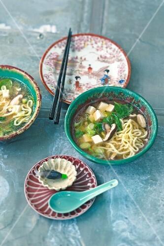Ramen with tofu, spinach and shiitake mushrooms (Japan)