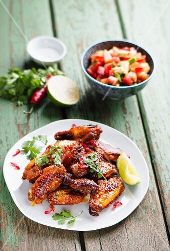 Chicken wings with avocado salsa