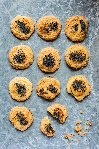 Home-made cheese & poppy seed biscuits (seen from above)