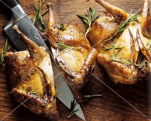 Grilled game birds seasoned with rosemary