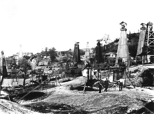Early US oil field,historical image