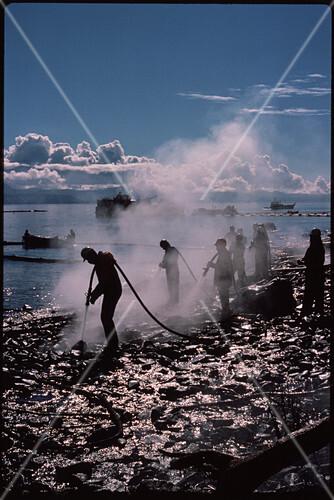 Clean-up operation after Exxon Valdez oil-spill
