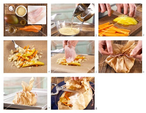 How to prepare cod en papillote with carrot and mango
