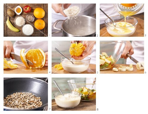 How to prepare rice with yoghurt, fresh fruit and sunflower seeds