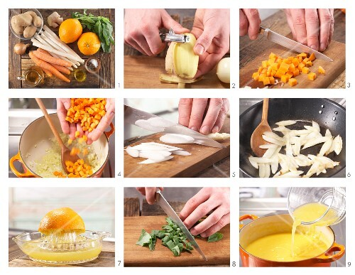 How to prepare creamy potato and carrot soup with white asparagus