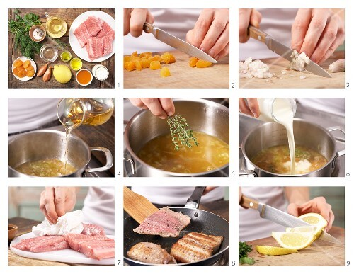 How to prepare fillet of lemon sole with herbs on apricot sauce