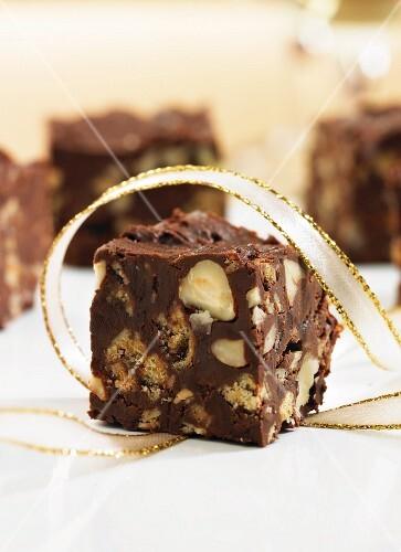 Chocolate fridge cake with hazelnuts