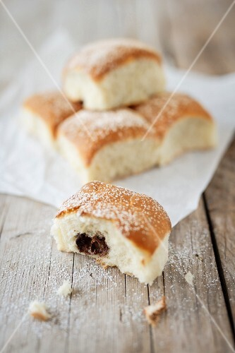 Sweet buns with a praline filling