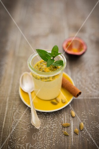 Mango sorbet with passionfruit and cardamom