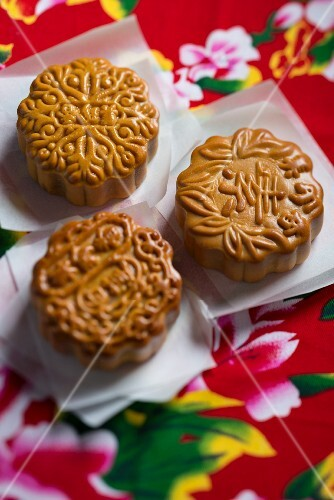 Three Chinese mooncakes