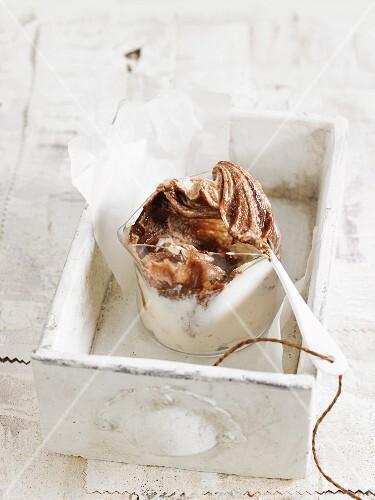 Vegan cashew cream with cocoa powder
