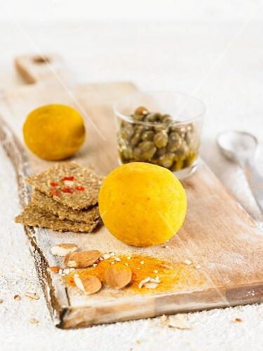 Vegan almond cheese with turmeric