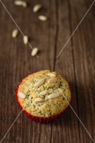 A pine nut and poppy seed muffin