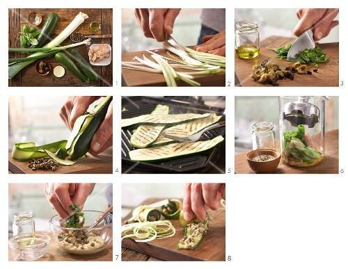 Zucchini-Röllchen mit Kapern-Thunfischfüllung zubereiten