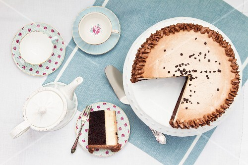 Afternoon tea and cake, overhead view