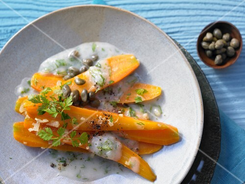 Steamed ginger carrots with herbs