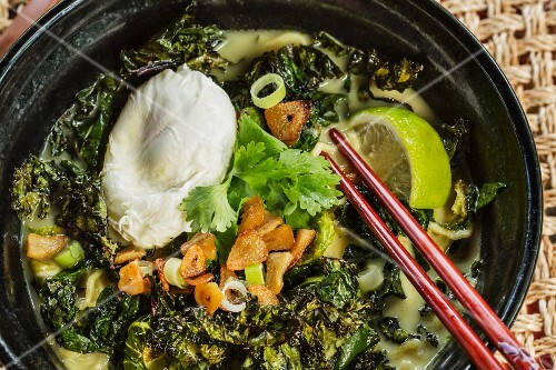Japanese tonkotsu ramen soup with crunchy vegetables