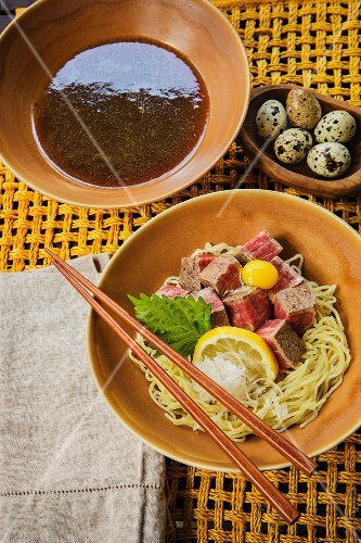 Japanese tsukemen noodles with Kobe beef and quail eggs