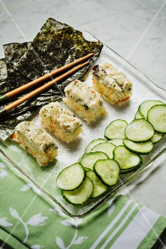 Japanese chirashi sushi with cucumber and seaweed