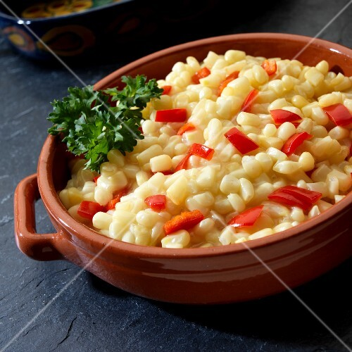 White shoepeg corn with red peppers
