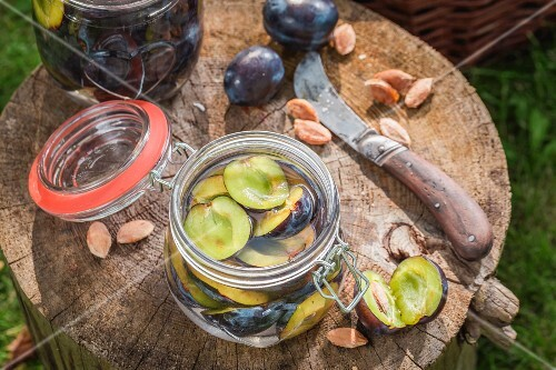 Pickled plums in a preserving jar on a tree stump in the garden