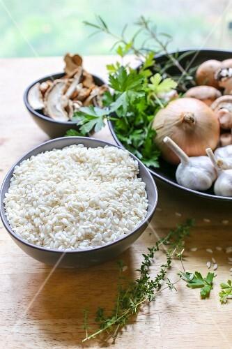 Rice, herbs, onions, garlic and mushrooms
