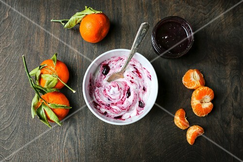 Yoghurt with jam and clementines