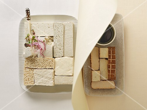 Different types of tofu (seen from above)