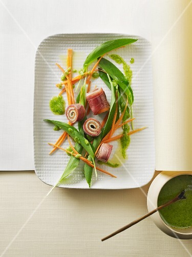 Tofu and Prosciutto rolls on a bed of salad