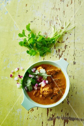 Chicken and coconut curry with coriander