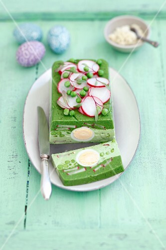 Spinach and pea terrine with eggs and radishes for Easter