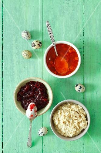 Horseradish sauce, lingonberry jam and rowan berry jam for Easter