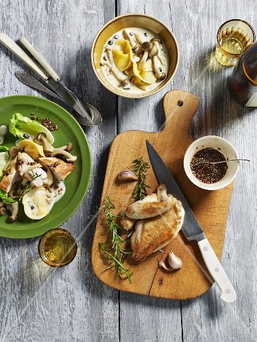 Corn-fed chicken breast with pioppino mushrooms (seen from above)