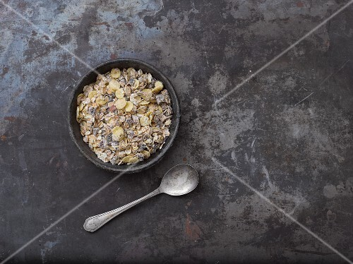 A muesli mixture with cornflakes and chocolate