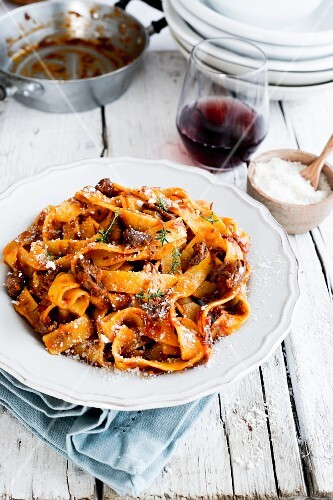Pappardelle with minced beef ragout and Parmesan