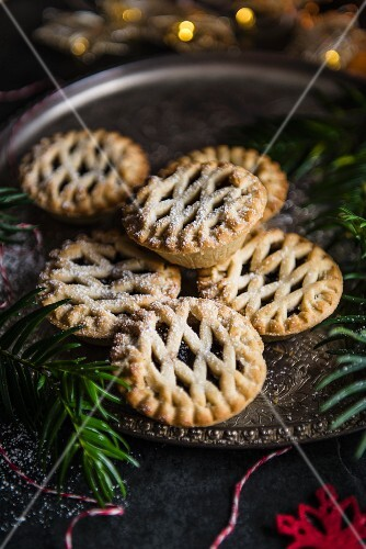 Christmas mince pies on a plate