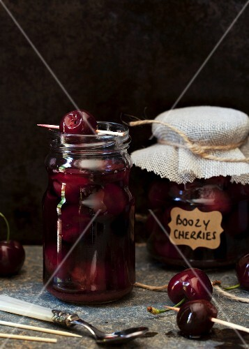 Cherries marinated in Bourbon