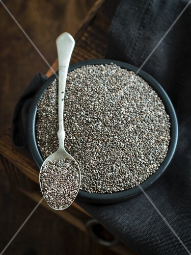 Chia seeds in a dish and on a spoon