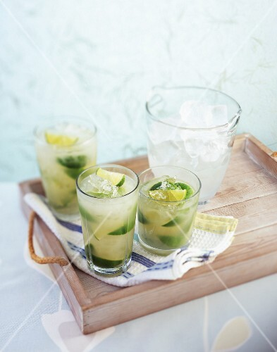Lime drinks with ice cubes