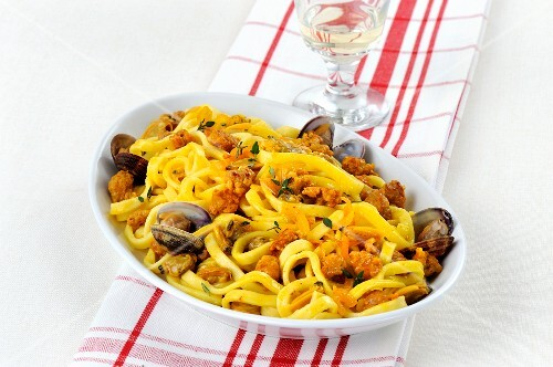 Fettucine with sausage and clams