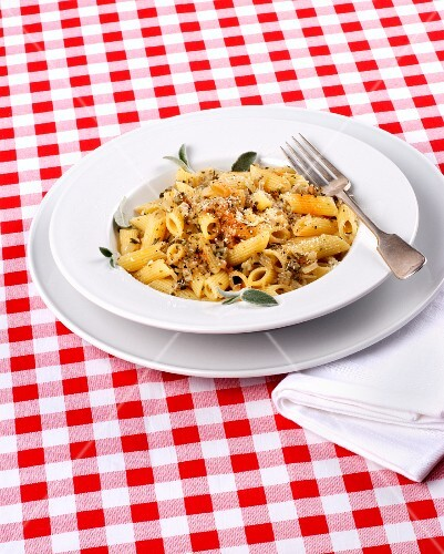 Penne pasta with herbs