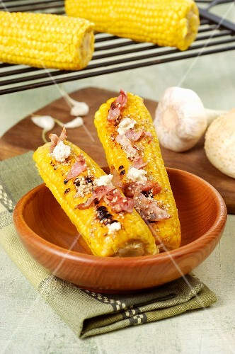 Grilled corn on the cob with spiced butter