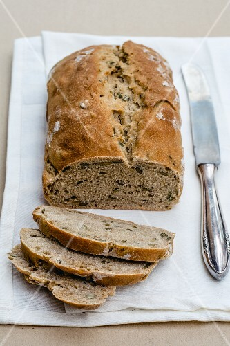 Sliced rye bread with coconut milk and sunflower seeds