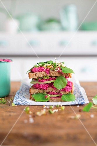 Tofu spread with baked beetroot and sprouts