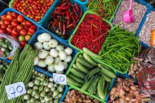 A vegetable stall at Meuang Mai market in Chiang Mai, Thailand