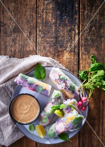 Vietnamese spring rolls with radish and a nut dip