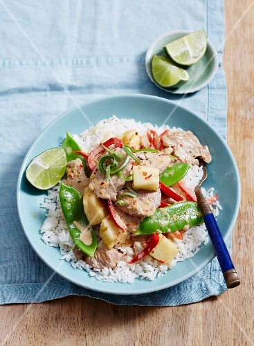Pork And Pineapple Thai Red Curry License Images