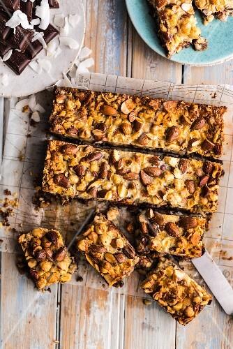 Homemade choc nut bars on baking paper